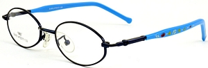 These small blue rimmed frames come with blue temples with
