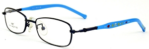 These blue rimmed frames come with blue temples with