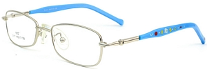 These Silver rimmed frames come with blue temples with
