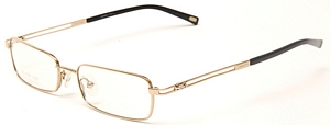 This elegant pair of glasses comes in a dull gold and is