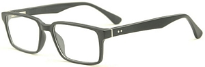 This pair of black glasses features subtle white details to