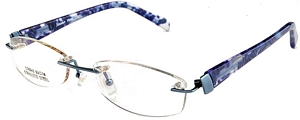 The stainless steel rimless frame with a floral pattern