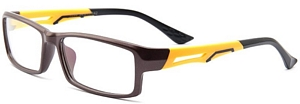 Great combination of brown and bright yellow. Perfect eyeglasses for pushbikes